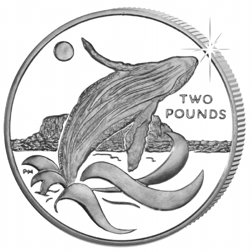 2015 Humpback Whale £2 Coin From South Georgia & South Sandwich Islands